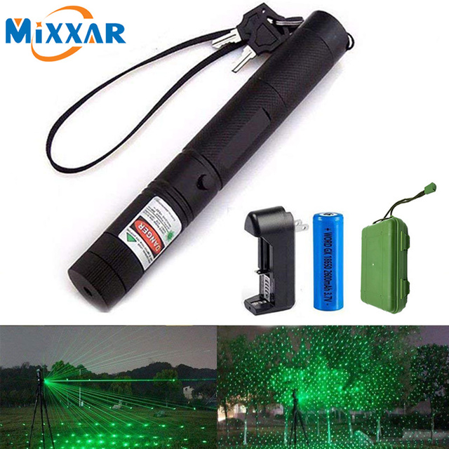 Dropshipping 532 nm Green Laser Sight laser 303 pointer Powerful device Adjustable Focus Lazer laser 303+charger+18650 Battery