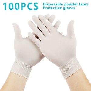Image 1 - 100 sztuk/partia jednorazowe lateksowe rękawice ochronne antypoślizgowe rękawice lateksowe gumowe lateksowe rękawice do czyszczenia gospodarstwa domowego