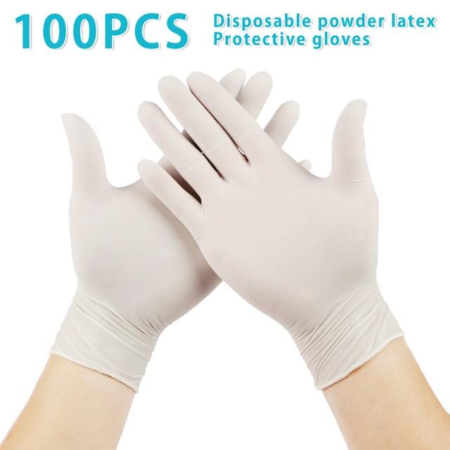 100 sztuk/partia jednorazowe lateksowe rękawice ochronne antypoślizgowe rękawice lateksowe gumowe lateksowe rękawice do czyszczenia gospodarstwa domowego