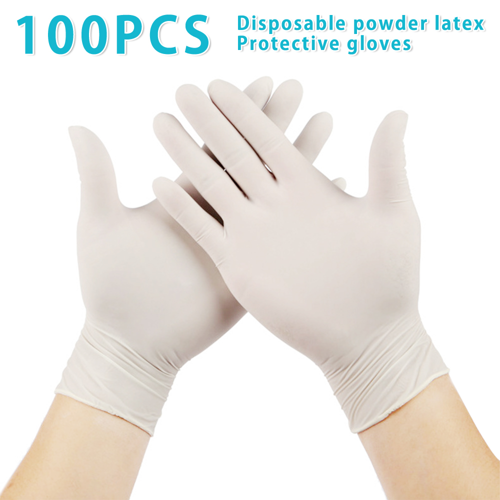 100Pcs/Lot Disposable Latex Protective Gloves Non Slip Acid Laboratory Rubber Latex Gloves Household Cleaning SupplySafety Gloves   -