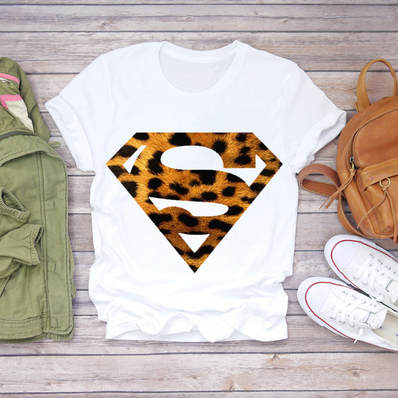 Women 2020 Summer Leopard Superman Casual Fashion Printed Lady T-shirts Top T Shirt Ladies Womens Graphic Female Tee T-Shirt