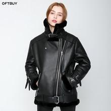 OFTBUY 2020 새로운 겨울 자켓 여성 양면 모피 코트 파카 양피 정품 가죽 따뜻한 두꺼운 진짜 모직 모피 라이너 브랜드