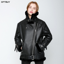 OFTBUY veste dhiver pour femmes, manteau de fourrure Double face pour femme, parka peau de mouton cuir véritable chaud et épais, vraie laine, marque doublure