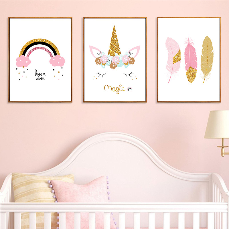 Pink Feather Cartoon Nursery Girl Wall Picture Poster Print Unicorn Baby Room Modern Canvas Painting Kids Wall Art Mural|Painting & Calligraphy| - AliExpress