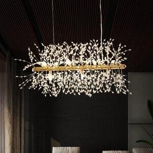 Image 5 - Modern kristal avize aydınlatma kristal avizeler lamba LED kolye asılı ışık Lustres De Cristal lamba restoran ışık