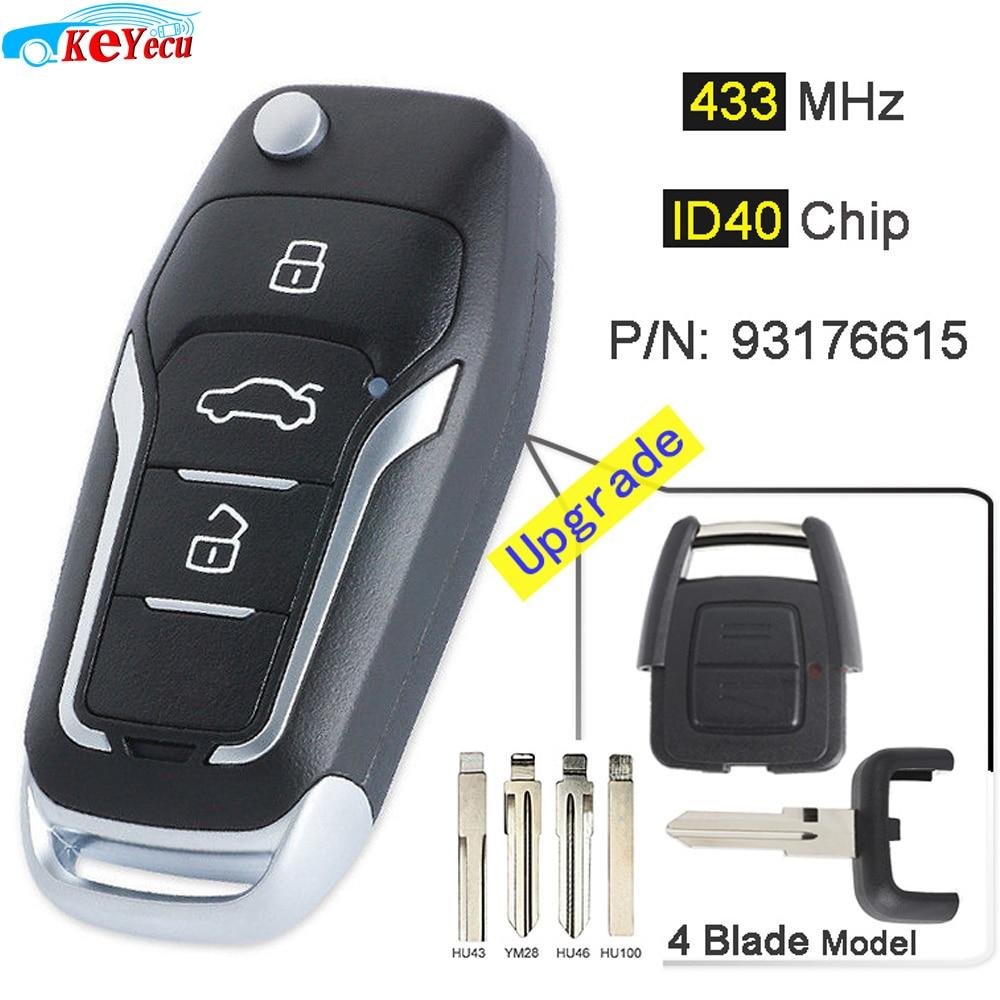 2 Buttons 433Mhz ID40 chip Remote Key for Opel Corsa C Meriva Tigra Combo HU46