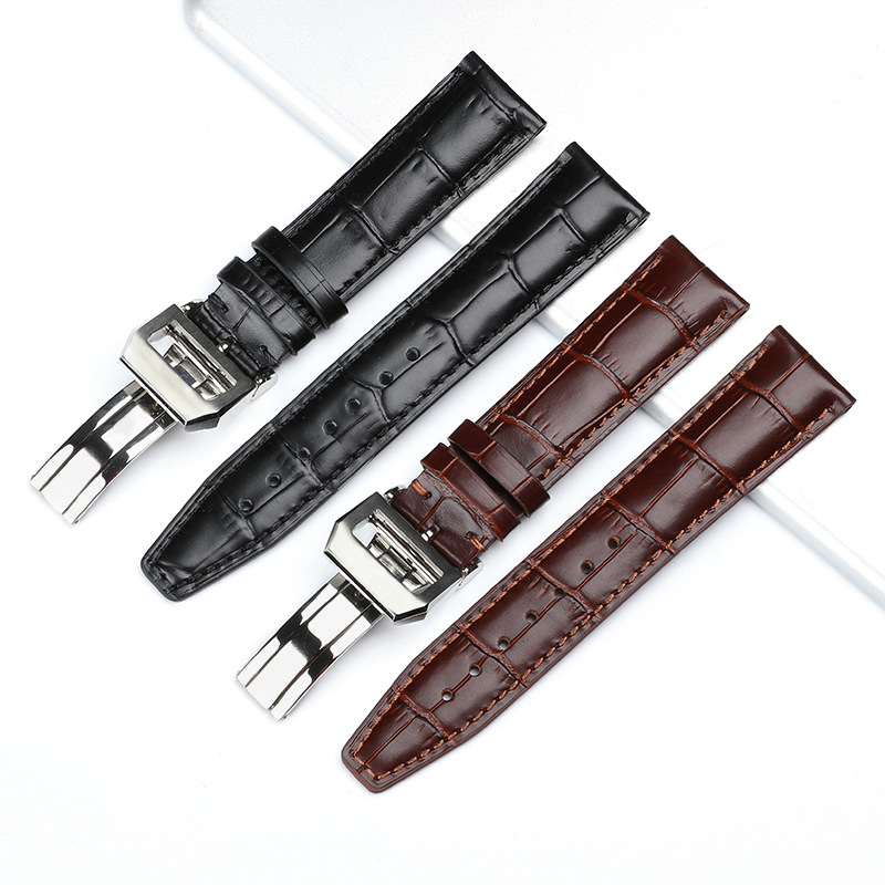 Genuine Leather Watchband Black Brown Watch Strap with Deployment Clasp Fit for IWC Pilot's Watch 20mm 22mm Replacement Bracelet