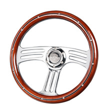 Steering-Wheel Wooden Grain Classic Racing-Car 340mm Spoke Silver Chrome Vintage