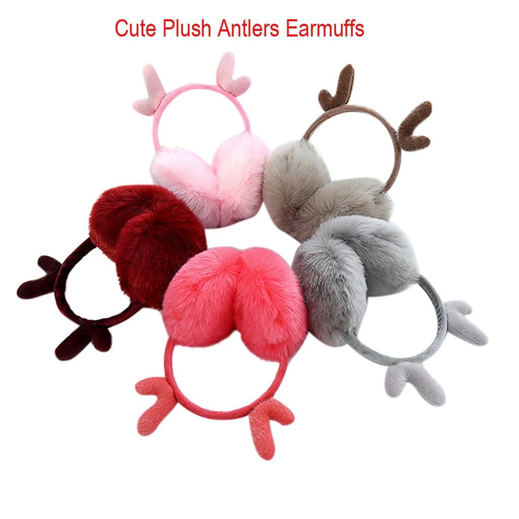 Christmas Cute Earmuffs Plush Antlers Ears Design Winter Warm Adjustable Earmuffs Women Winter Warm Solid Earmuffs#p