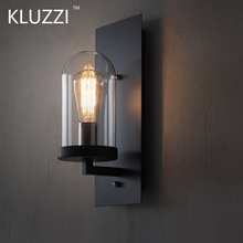 KLUZZI American country industrial retro style wrought iron glass led wall lamp lighting for hallway restaurant Loft bar light цена 2017