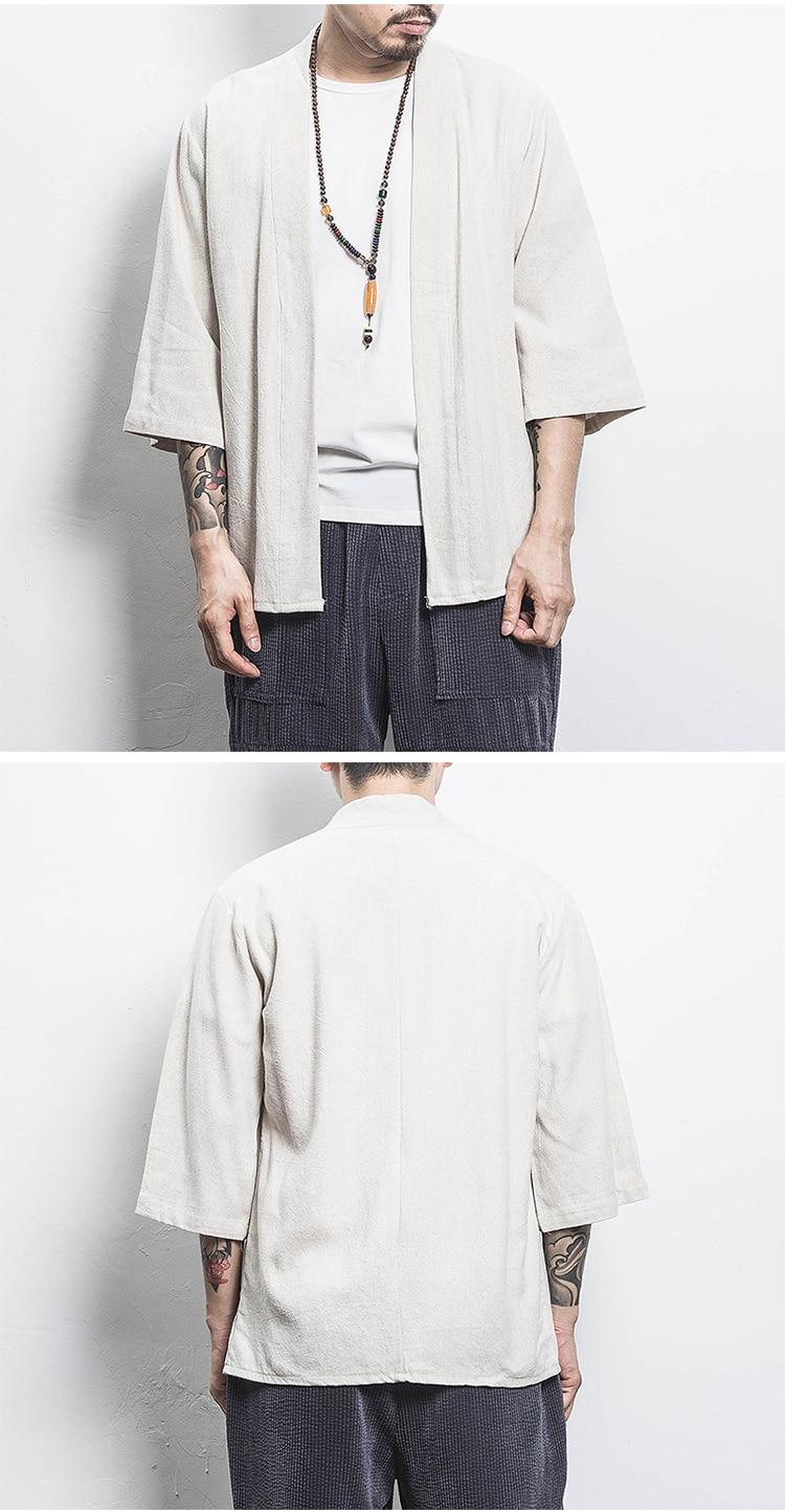 Ha46748dcfd8f48aaa3efd186b89030b0N Drop Shipping Cotton Linen Shirt Jackets Men Chinese Streetwear Kimono Shirt Coat Men Linen Cardigan Jackets Coat Plus Size 5XL
