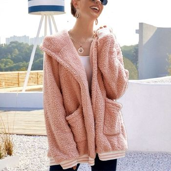 2020 Loose Wool Coat With Hat Striped Long Jacket Winter Thick Warm Blend Cardigan Abrigos Mujer Invierno Rz*
