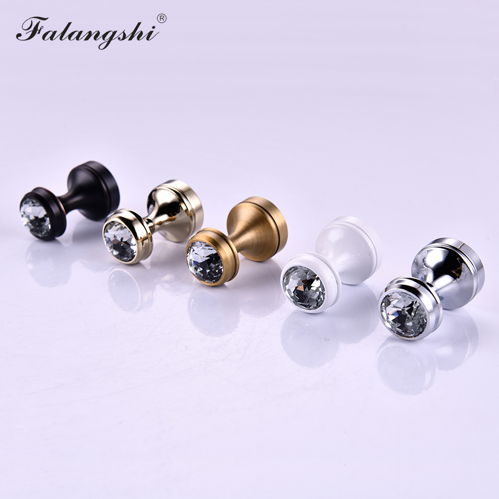 Bathroom Crystal Robe Hook Copper Brass Wall Clothes Hanger Door Knobs And Handles For Cabinet Furniture Handles WB8106