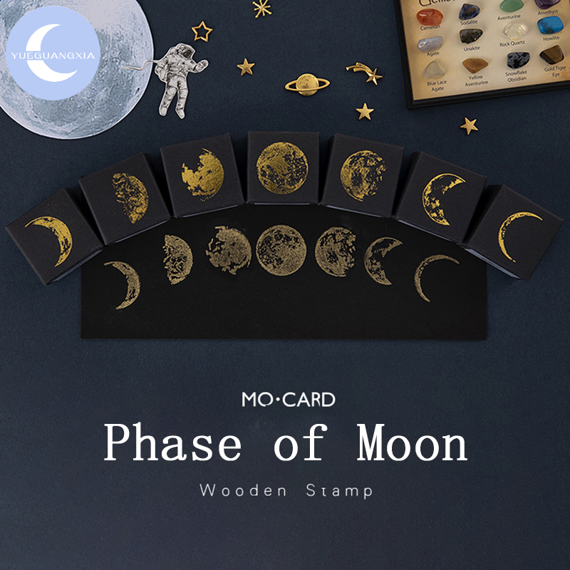 YueGuangXia Gold Space Moon Dream Hop-pocket List Hobby Log-Rubber Stamps For Scrapbooking Deco DIY Craft Wooden Stamps 7 Design