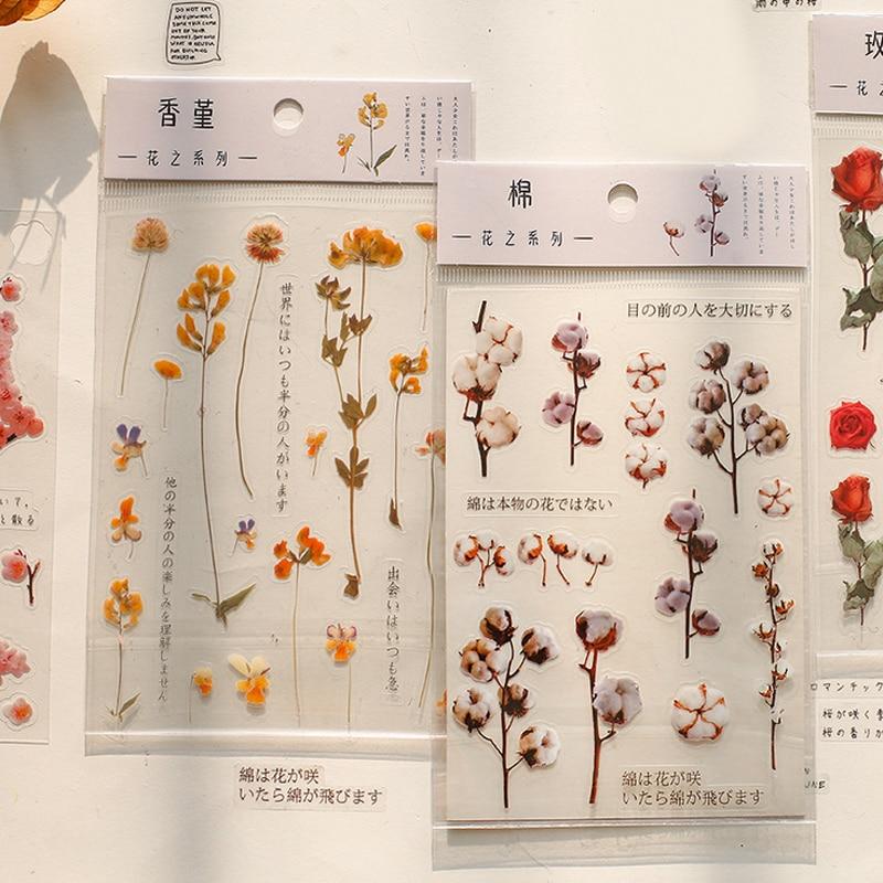 Fresh Flower Plant Paper Sticker DIY Scrapbooking Diary Album Sticker Post Kawaii Stationery School Supplies