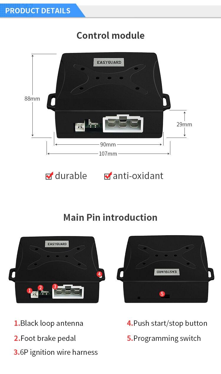 EASYGUARD RFID автомобильный сигнализатор с кнопка запуска и транспондер иммобилайзер блокировка двигателя или разблокировка DC12V