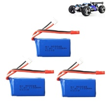 3 pièces pour Wltoys A949 A959 A969 A979 K929 LiPo batterie 7.4V 1100mah 903048 25c Lipo batterie pour RC hélicoptère avion voitures bateaux