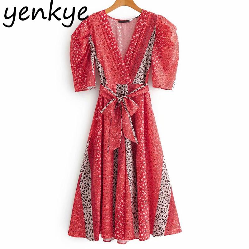 Summer Dress 2020 Women Vintage Patchwork Floral Print  Long Dress Lady Half Sleeve V Neck Sashes  A-line Dress  SYJZ499