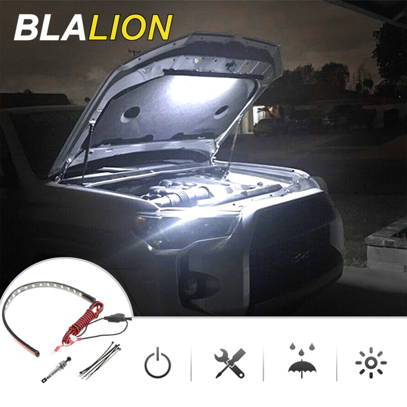 Under Hood Led Light Maintenance Lamp Led Light Strips Automatic Switch ON/OFF Universal for Most Car Waterproof Car Strip Light