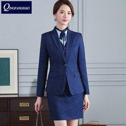 2019 new Women blazer elegant plaid suit business wear fashion womens clothing