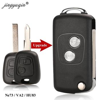 Jingyuqin 2 BTN zmodyfikowany klapki zdalnego klucz samochodowy Shell dla Citroen C1 C2 C3 C4 Picasso Xsara Peugeot 206 306 307 107 207 407 Partner tanie i dobre opinie CN (pochodzenie) Car Key shell replacement Keychain case ABS + Metal China Car Key Fob Shell replacement