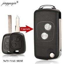 Jingyuqin 2 BTN Flip modificado coche remoto clave Shell para Citroen C1 C2 C3 C4 Xsara Picasso Peugeot 206, 306, 307, 107, 207, 407, socio