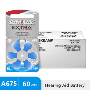 Image 1 - 60 PCS Rayovac Extra Hearing Aid Batteries Zinc Air 675A 675 A675 PR44 For Hearing aid