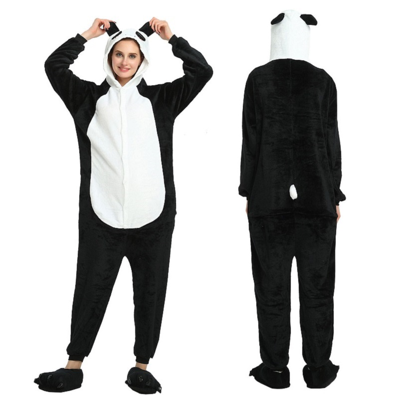 Flannel Kigurumi Long Sleeve Hood Panda Onesie Men Women Adult Onsie Pizama Onepiece Tulum Overalls Red-eye Panda Animal Pajamas
