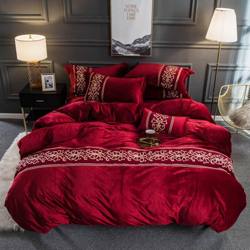 Flanela de veludo macio quente capa de edredão conjunto com chique bordado rendas rainha rei tamanho 4 pçs conjunto cama com cabido/plana lençóis - 3