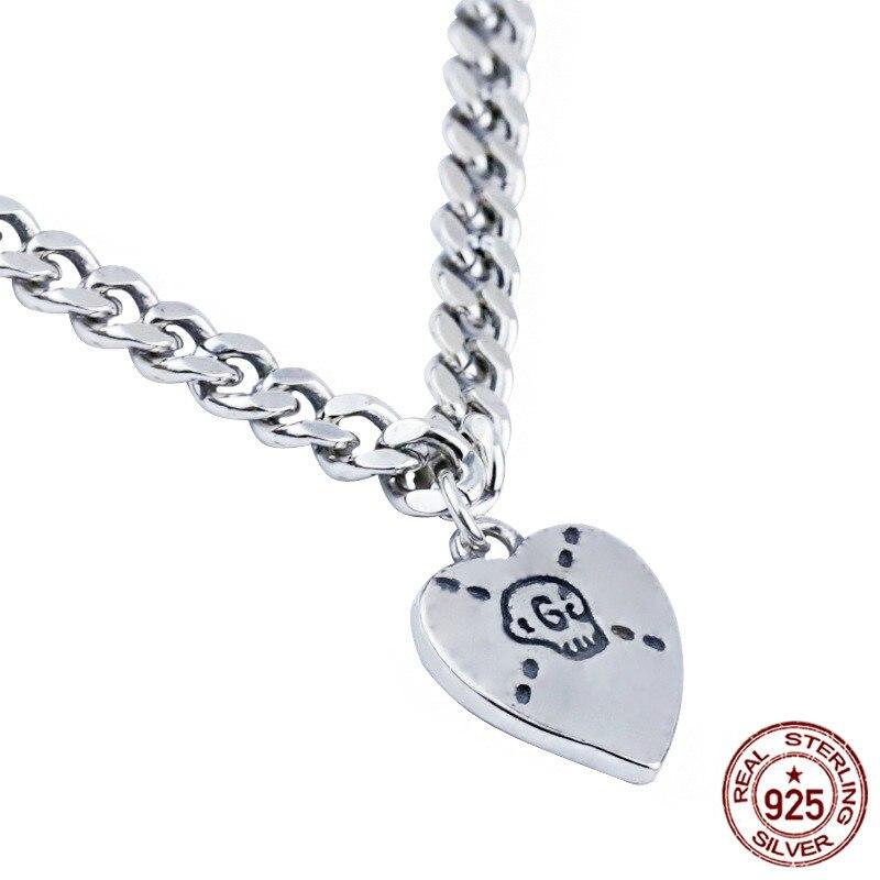 925 collier en argent sterling net rouge tempérament tendance chaîne en forme de coeur crâne cadeau d'anniversaire saint valentin à envoyer petite amie