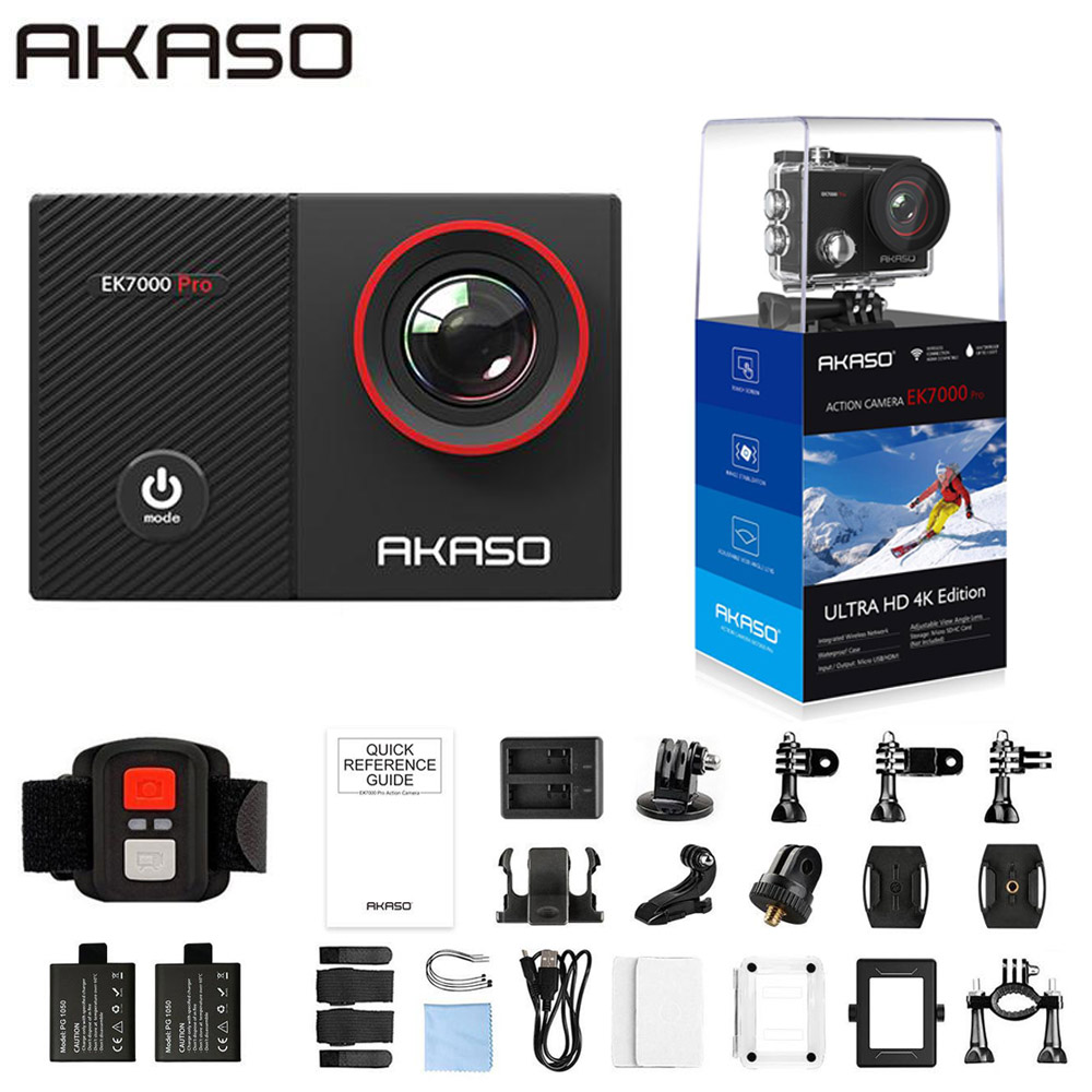 AKASO 4K Action Camera EK7000 Pro Touch Screen Sports Camera EIS Adjustable View Angle 40m Waterproof Camera Remote Control