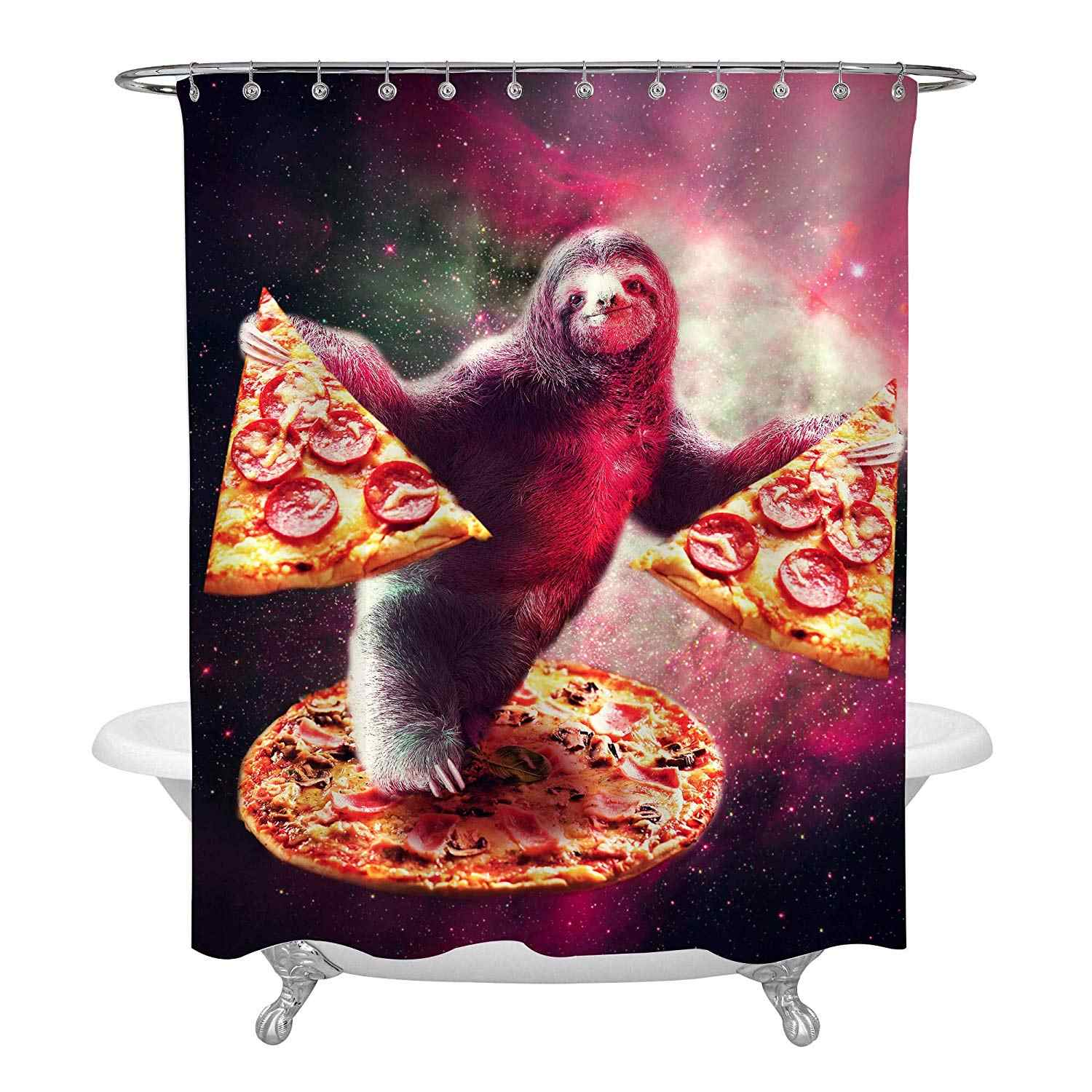 sloth pizza in colorful galaxy space shower curtain set multicolor bathroom accessories for funny home decor