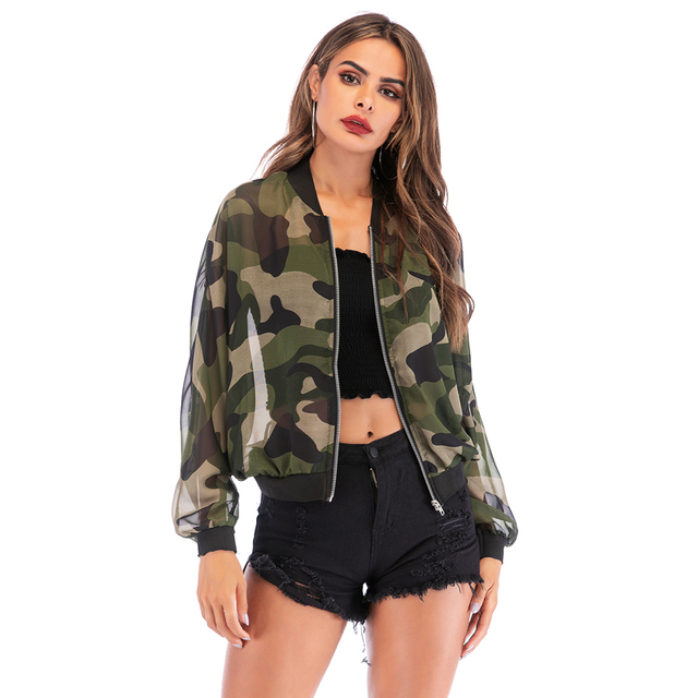 PGSD 2021 New Spring Summer Long sleeve zipper Sunscreen jacket Women clothes Casual holiday Loose camouflage thin coat female 2