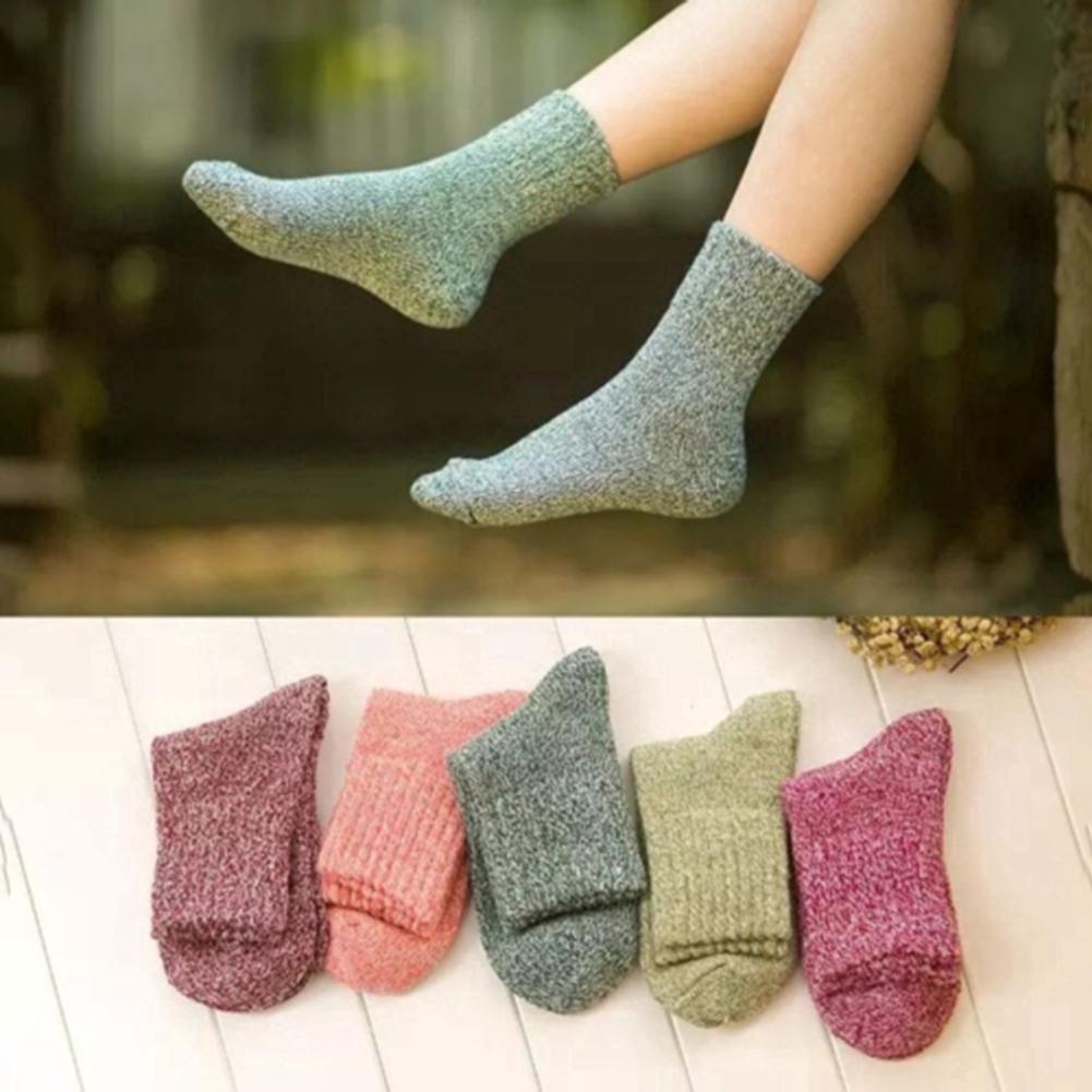 Autumn Winter Warm Women Socks Solid Color Elastic Breathable Middle Tube Crew Socks Women's Socks Hosiery