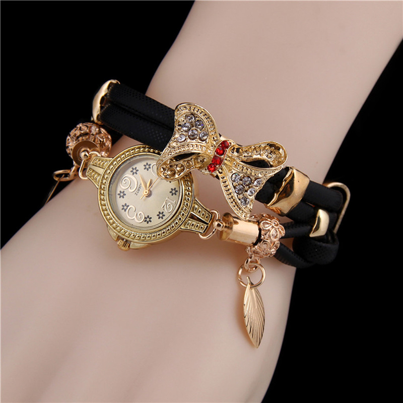 New Fashion Women Butterfly Retro Watches Rhinestone Bracelet Lovely Wedding Quartz Montre femme