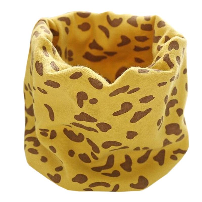 Новинка; Модный хлопковый шарф для маленьких девочек; осенне-зимний шарф для маленьких мальчиков; Детский шарф с круглым вырезом; Детские шарфы; волшебный шейный платок - Цвет: yellow leopard
