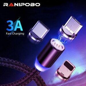 Круглый Магнитный кабель Micro USB Type C 3A, 1 м/2 м, кабель для быстрой зарядки и передачи данных, мобильный телефон, штекер для Xiaomi, Huawei