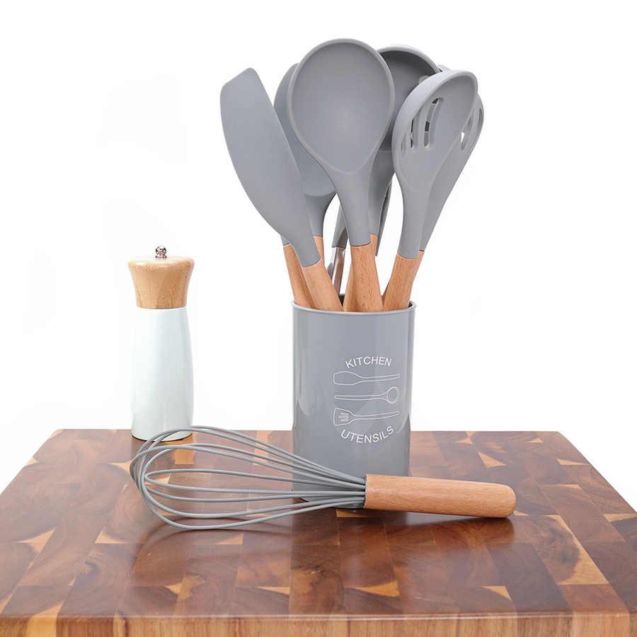 Silikonowe naczynia do gotowania zestaw naczyń kuchennych-nieprzywierająca łopatka łopatka naturalna akacja drewniana rączka narzędzia kuchenne