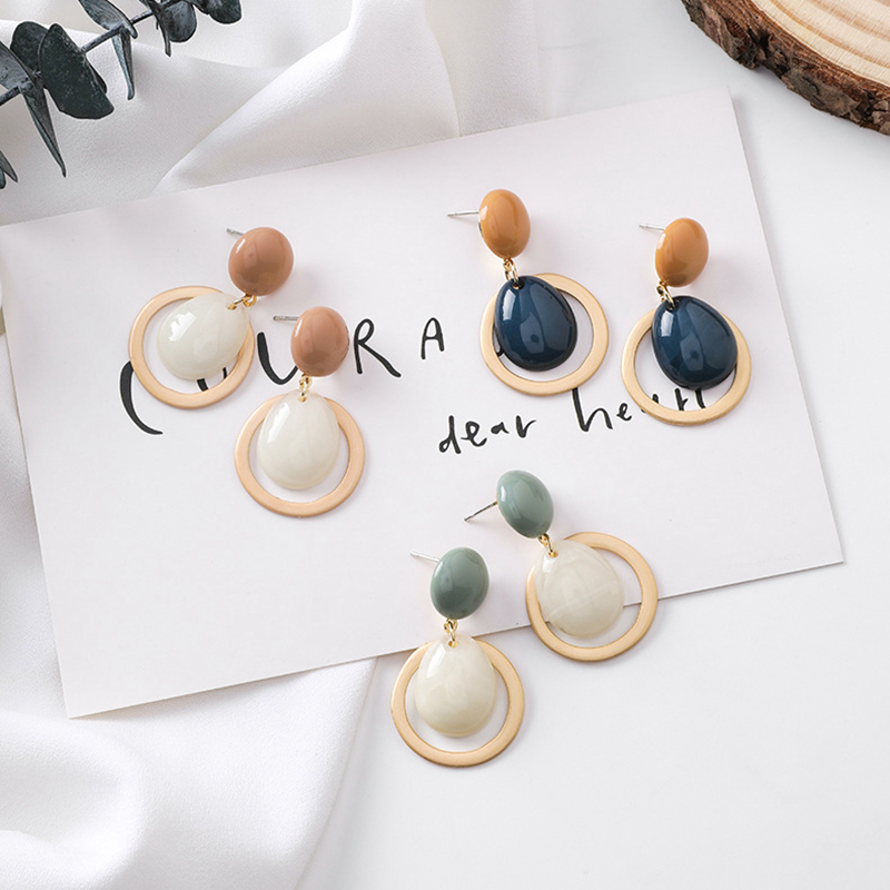 Fashion Candy Color Smooth Acrylic Drop Earrings Simple Geometric Round Button Statement Earrings With Stones Bijoux Femme 2019