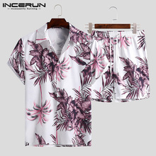 Mens Suits Shirts Short-Sleeve Hawaiian-Sets Vacation-Shorts Streetwear INCERUN 2-Pieces