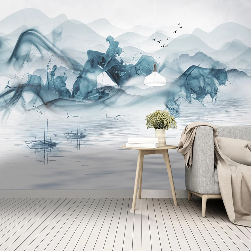 Custom Mural Wallpaper 3D Abstract Lines Ink Landscape Fressco Chinese Style Living Room Study Home Decor Waterproof Wall Papers