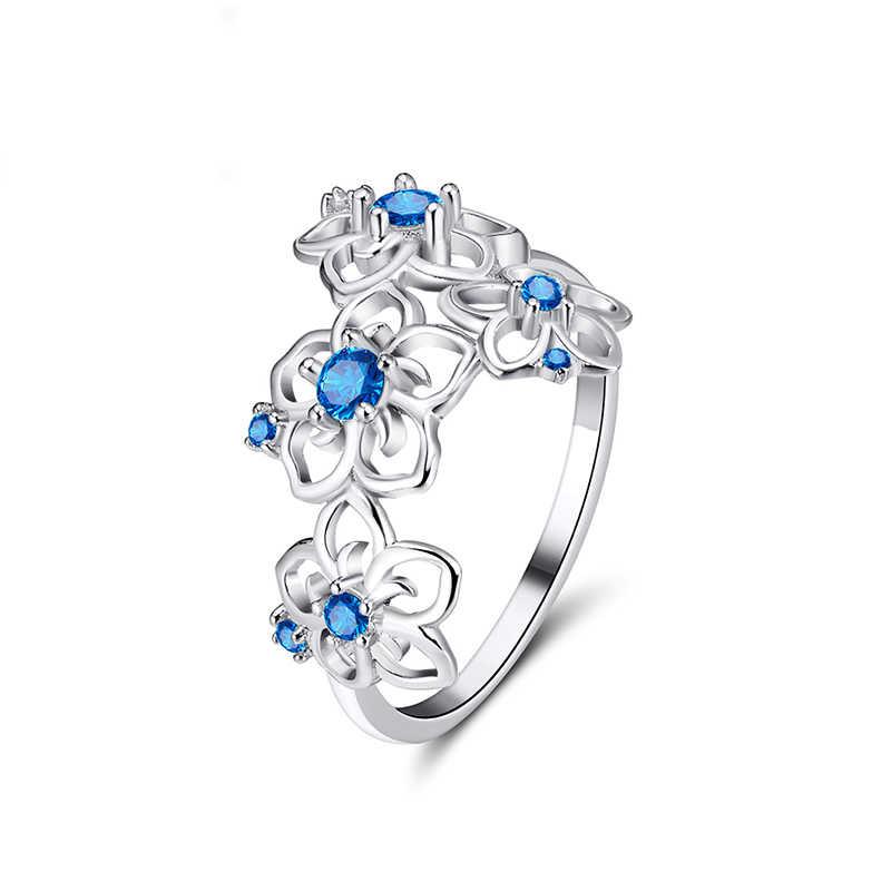 Effie Queen 925 เงินสเตอร์ลิงแหวนสร้อยคอเครื่องประดับชุดผู้หญิง AAA Zircon Flower Shape Party ชุดเครื่องประดับ TSS24