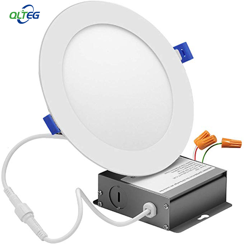 DC12/24V QLTEG 20pcs <font><b>LED</b></font> <font><b>downlight</b></font> 9W 12W 15W 18W 24W IC Rated <font><b>LED</b></font> Recessed Low Profile Slim Round Panel Light with Junction Box image