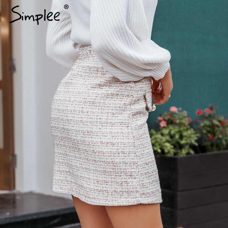 Simplee Elegante hoge taille vrouwen plaid rok Parel knop zakken herfst winter vrouwelijke rokken A-lijn ritsen dames mini rokken