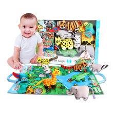Монтессори тканевая книга для новорожденных на возраст от 0 до 12 месяцев, детские игрушки развивающие игровые коврики для малышей с динозав...