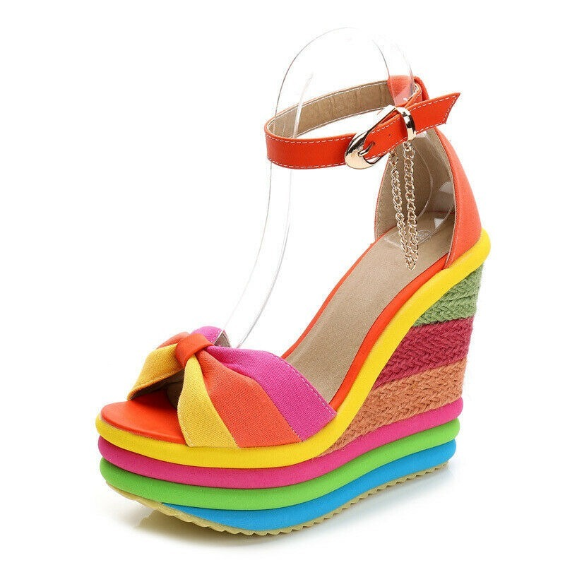 Ladies Fashion New Summer Coloured Women's Straw Rope Weaving Wedges Sandals High-heeled  Candy Colors Rainbow Platform Shoes