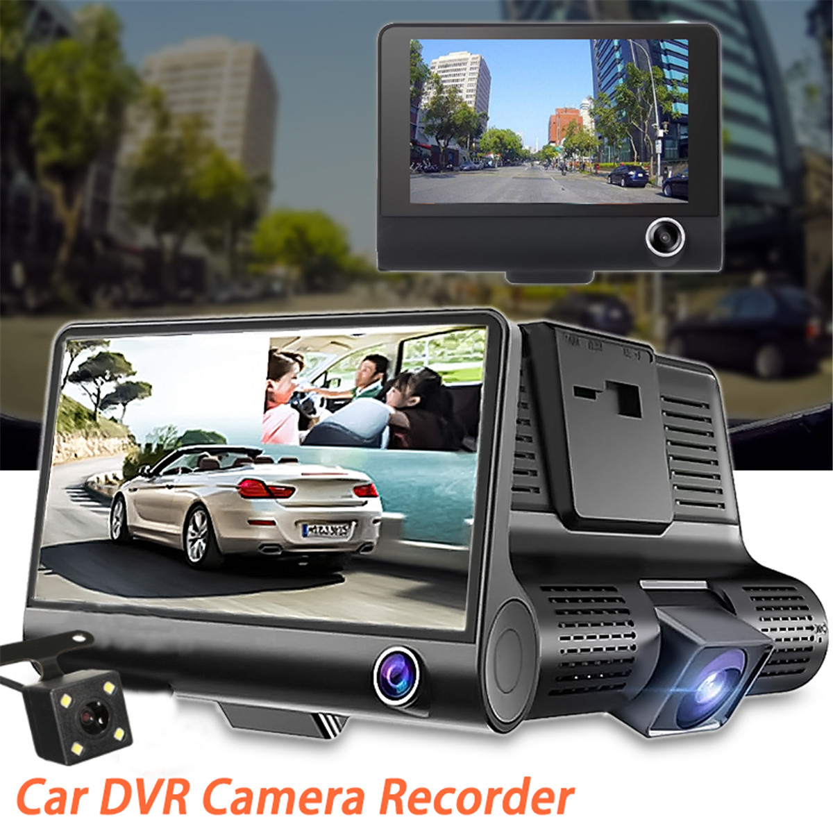 Dash Cam 4.0 Inch 3 Camera Dual Lens Car DVR Video Recorder HD Dual Lens DVR With Rear View Camera Car Auto Registrator Dvrs