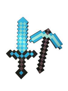 Sword Pickaxe Foam-Toys Diamond Minecraftinglys Design EVA Soft for Children Blue Gray