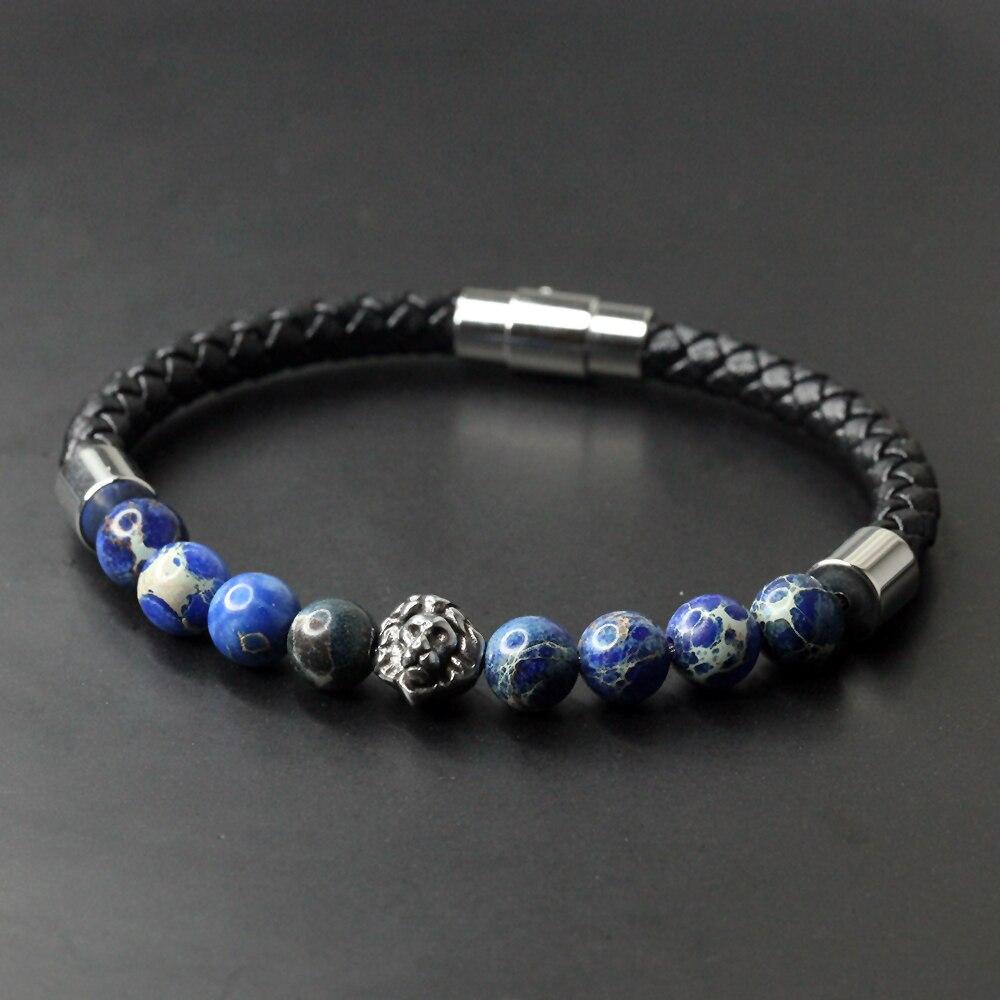Skull Leather Bracelet Natural Stone
