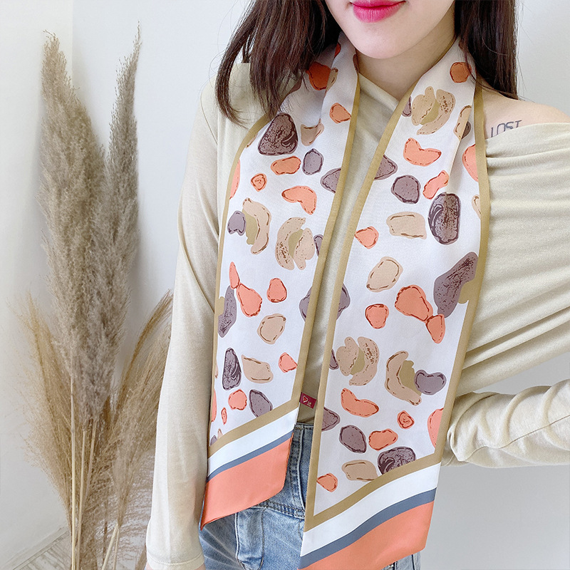 New Ribbon Korean-style Neckerchief Women's Silk Scarves Small Scarf Autumn Versatile Spring  Autumn Strip Headscarf Hair Band